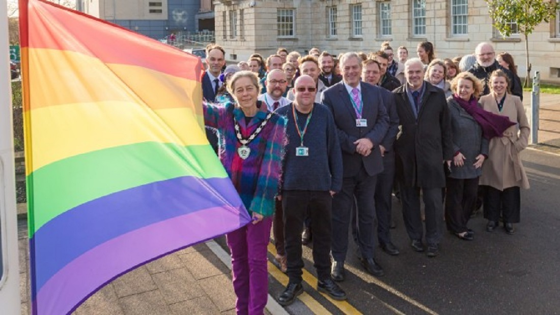 Rainbow flag raised outside County Hall to mark LGBT History Month