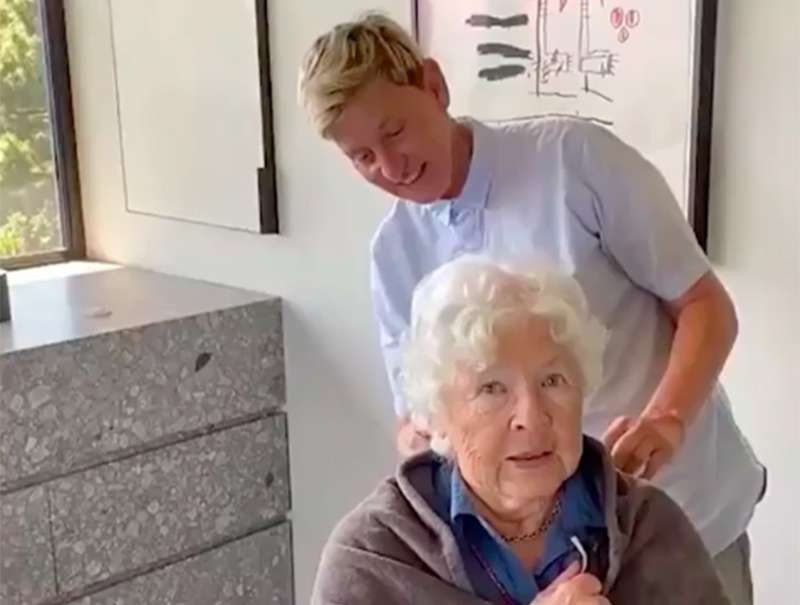 Ellen gets out the clippers to cut her mom's hair for her 90th birthday