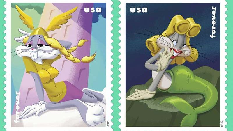 These Bugs Bunny stamps are the first in US postal history to show drag