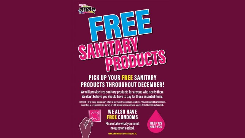 Free Sanitary Products From Swindon & Wiltshire Pride